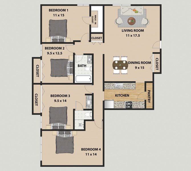 1, 2, 3 & 4 Bedroom Floor Plans