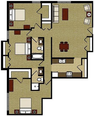 The Cottonwood 3 Bedroom 2 Bath Floor Plan at The Meadows Apartments, Madison, 53714