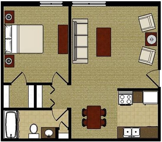 The Maple 1 Bedroom 1 Bathroom  Floor Plan at The Meadows Apartments, Madison, WI