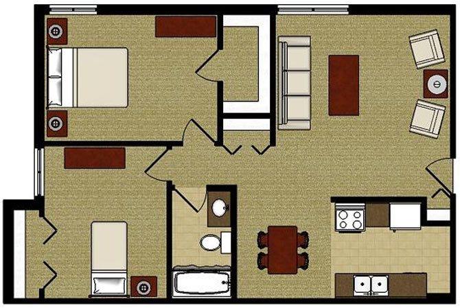 The Oak 2 Bedroom 1 Bathroom Floor Plan at The Meadows Apartments, Madison, 53714