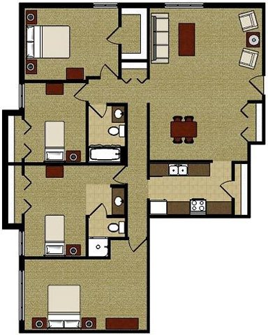 The Sycamore 4 Bedroom 2 Bathroom Floor Plan at The Meadows Apartments, Madison, Wisconsin