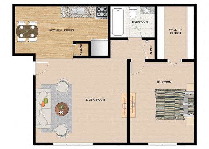 Bouleau Birch 1 Bedroom 1 Bathroom Floor Plan at The Birches Apartments, Joliet, IL, 60435