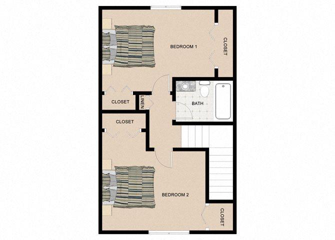 Downy Birch 2 Bedroom 1.5 Bathroom Floor Plan at The Birches Apartments, Joliet, IL, 60435