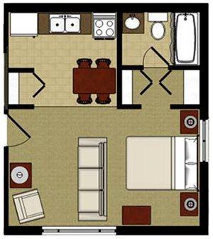 Canoe Studio 1 Bathroom Floor Plan at The Birches Apartments, Joliet, 60435