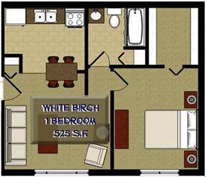 1 Bed White Birch