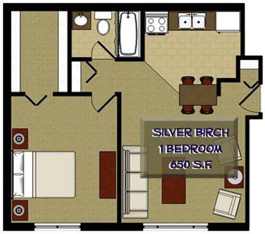 Silver Birch 1 Bedroom 1 Bathroom Floor Plan at The Birches Apartments, Illinois, 60435