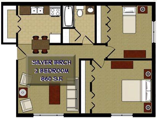 Silver Birch 2 Bedroom 1 Bathroom Floor Plan at The Birches Apartments, Joliet