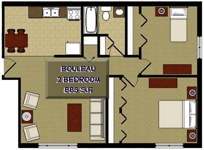 Bouleau Birch 2 Bedroom 1 Bathroom Floor Plan at The Birches Apartments, Illinois