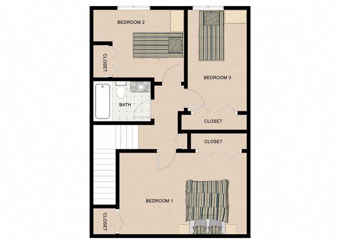 Mohagany Birch 3 Bedroom 1.5 Bathroom Floor Plan at The Birches Apartments, Joliet, IL