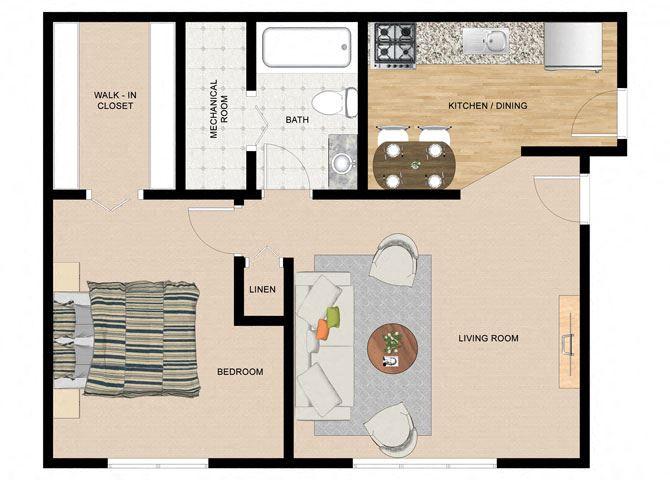Paper Birch 1 Bedroom 1 Bathroom Floor Plan at The Birches Apartments, Joliet, Illinois