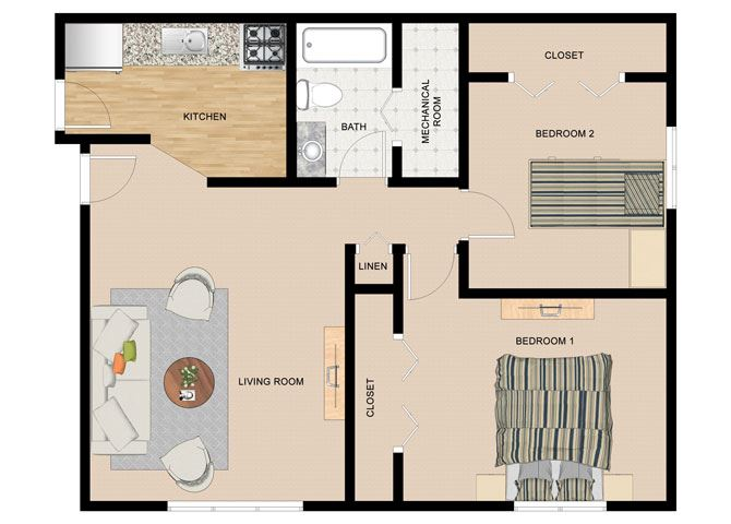 Paper Birch 2 Bedroom 1 Bathroom Floor Plan at The Birches Apartments, Joliet, IL