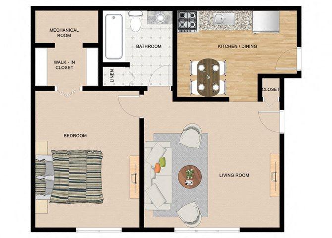 River Birch 1 Bedroom 1 Bathroom Floor Plan at The Birches Apartments, Joliet