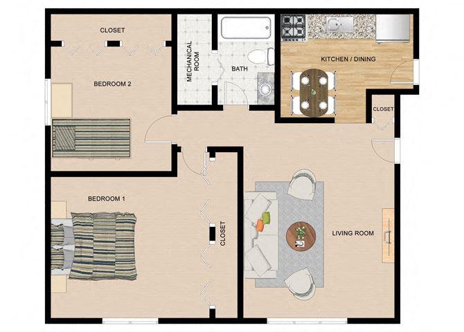 River Birch 2 Bedroom 1 Bathroom Floor Plan at The Birches Apartments, Joliet, 60435