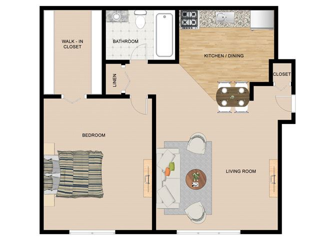 Silver Birch 1 Bedroom 1 Bathroom Floor Plan at the Birches, Joliet, IL