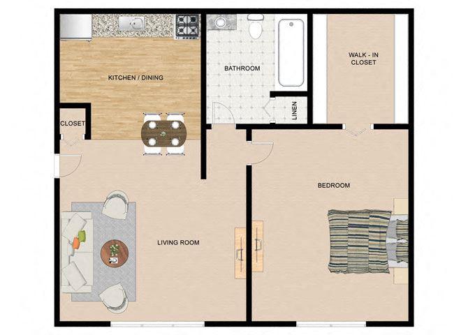 White Birch 1 Bedroom 1 Bathroom Floor Plan at The Birches Apartments, Illinois