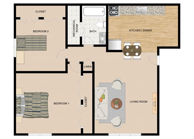 White Birch 2 Bedroom 1 Bathroom Floor Plan at The Birches Apartments, Joliet, Illinois