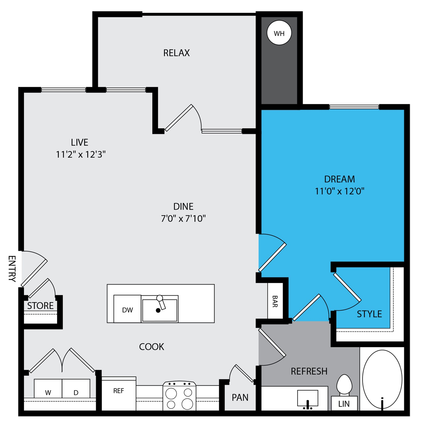 A1a Floor Plan at Venue at the Promenade, 6200 Castlegate West, CO 80108