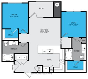 B1 Floor Plan at Venue at the Promenade, 6200 Castlegate West, CO