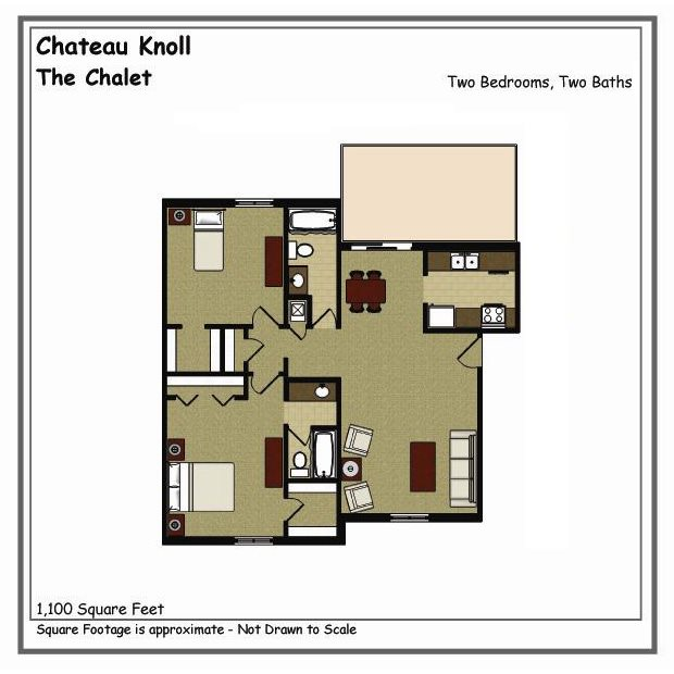 Chalet 2 Bed 2 Bath Spacious Floor Plan at Chateau Knoll, Iowa, 52722