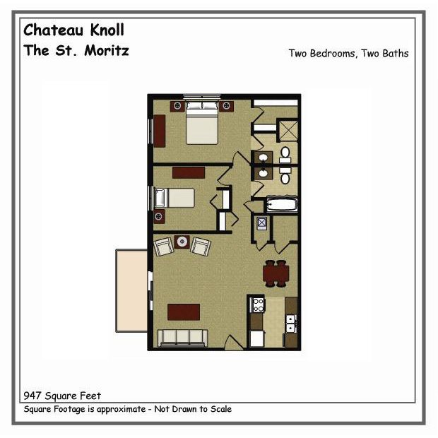 St. Moritz 2 Bed 2 Bath Floor Plan at Chateau Knoll, Bettendorf, IA