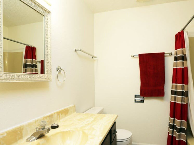 Bathroom at Chateau Knoll Apartments in Bettendorf Iowa