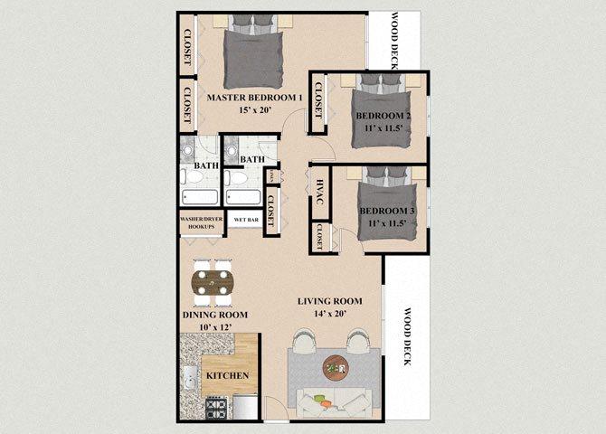 Alpine 3 Bedroom 2 Bathroom Floor Plan at Chateau Knoll