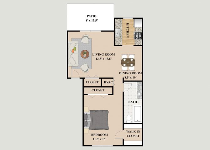 Ascot 1 Bedroom 1 Bathroom Floor Plan at Chateau Knoll