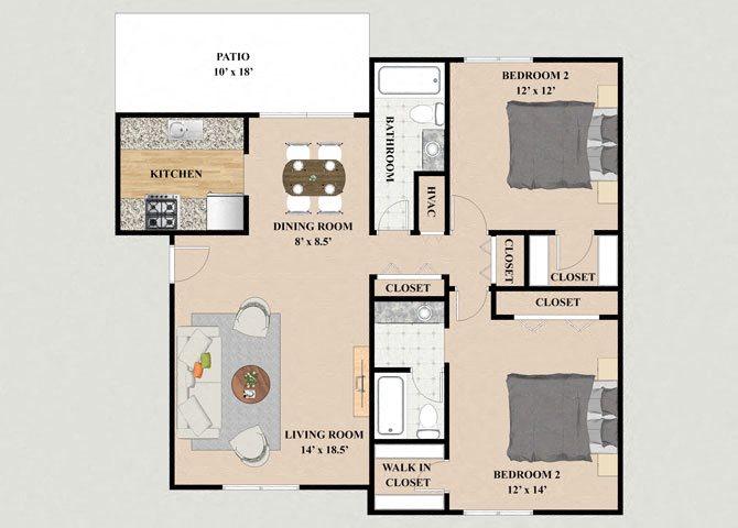 Chalet 2 Bedroom 2 Bathroom Floor Plan at Chateau Knoll