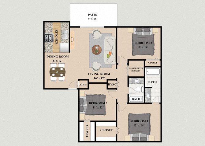 Chateau 3 Bedroom 2 Bathroom Floor Plan at Chateau Knoll