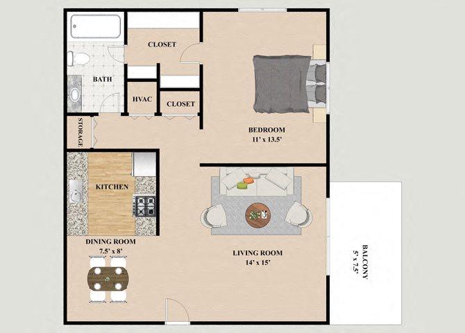 Geneva 1 Bedroom 1 Bathroom Floor Plan at Chateau Knoll