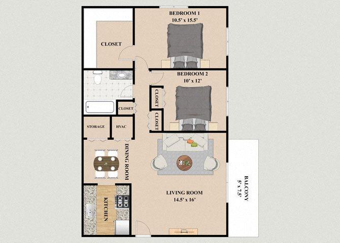 Innsbruck 2 Bedroom 1 Bathroom Floor Plan at Chateau Knoll