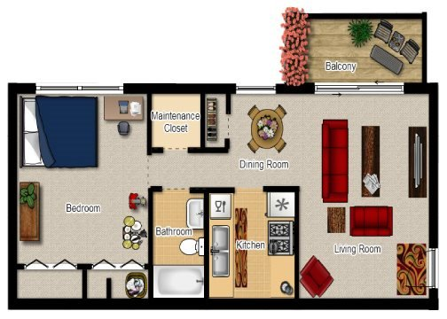 One Bed One Bath Floor Plan at Lincolnshire West, Illinois, 60115