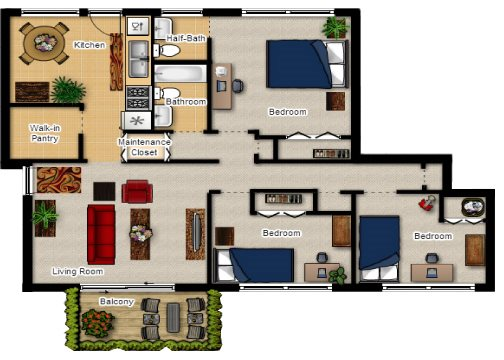 3 Bed 1.5 Bath Spacious Floor Plan at Lincolnshire West, DeKalb, IL