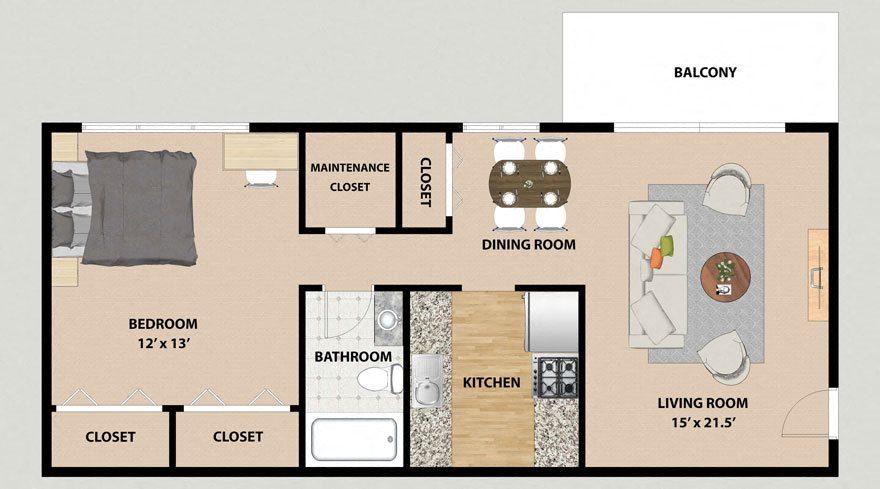 One Bedroom One Bathroom Floor Plan at Lincolnshire West