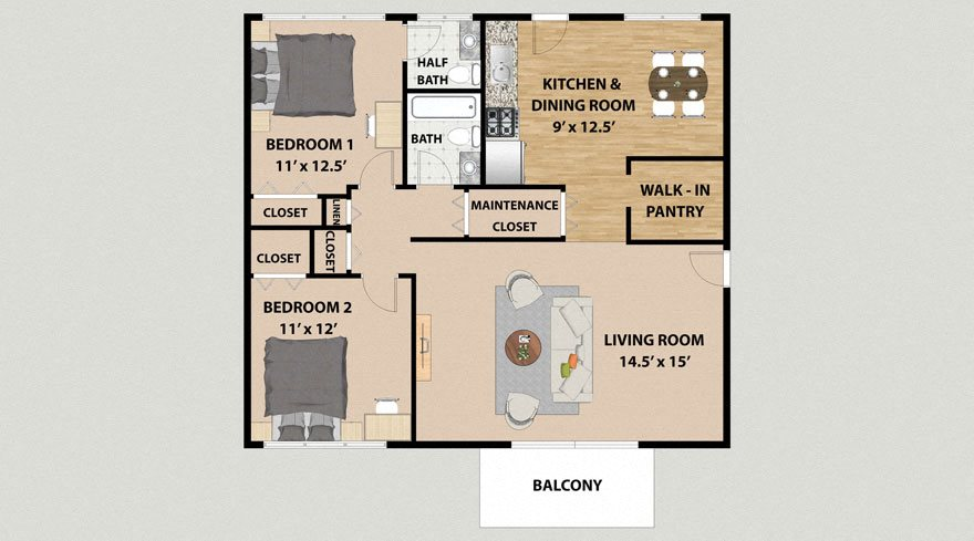Two Bedroom 1.5 Bathroom Floor Plan at Lincolnshire West