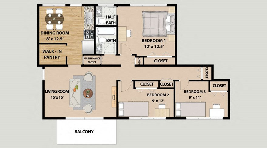 Three Bedroom 1.5 Bathroom Floor Plan at Lincolnshire West
