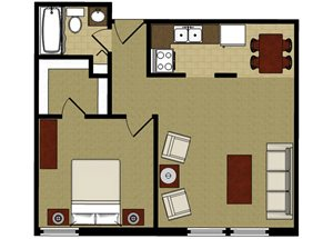 One Bedroom 1a