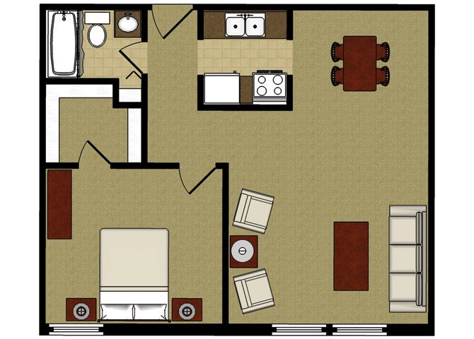 One Bed One Bath Floor Plan at Park Village Apartments, Wisconsin, 53713