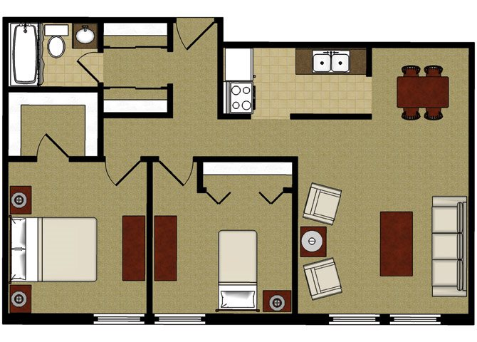 Two Bed 1 Bath Floor Plan at Park Village Apartments, Madison, WI