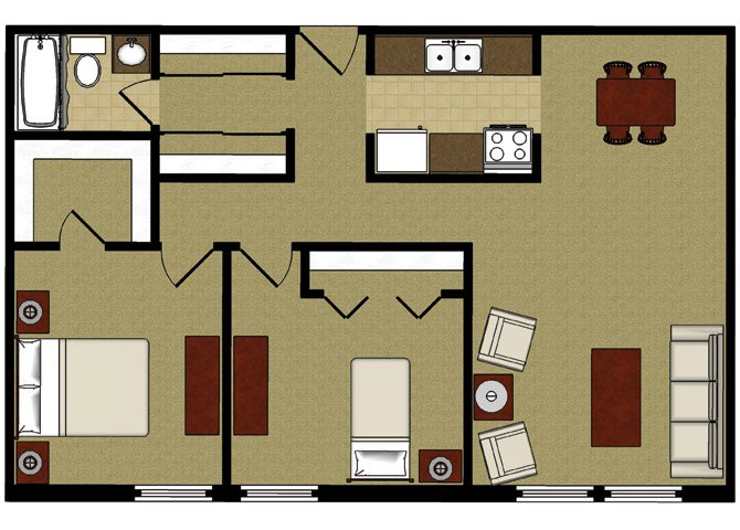 2 Bed 1 Bath Floor Plan at Park Village Apartments, Madison, 53713
