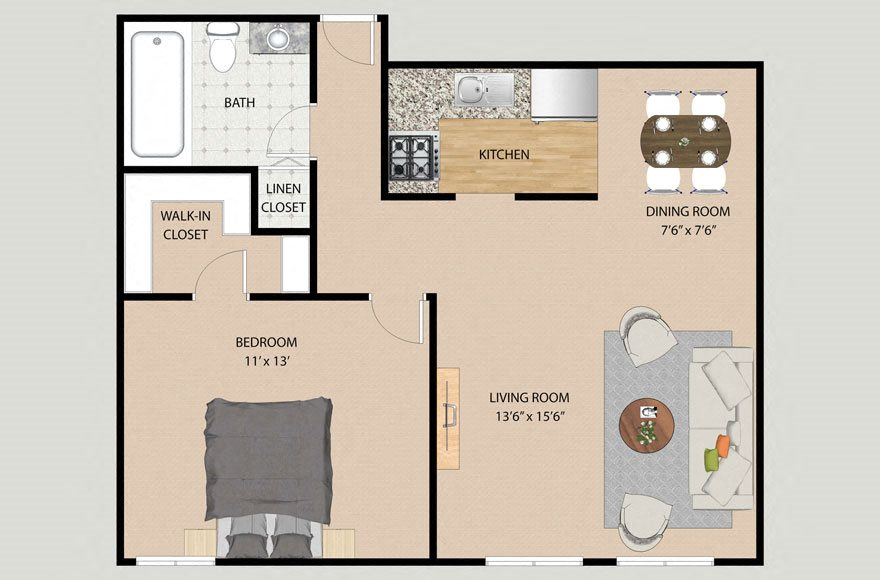 One Bedroom One Bathroom Plan 1A Floor Plan at Park Village