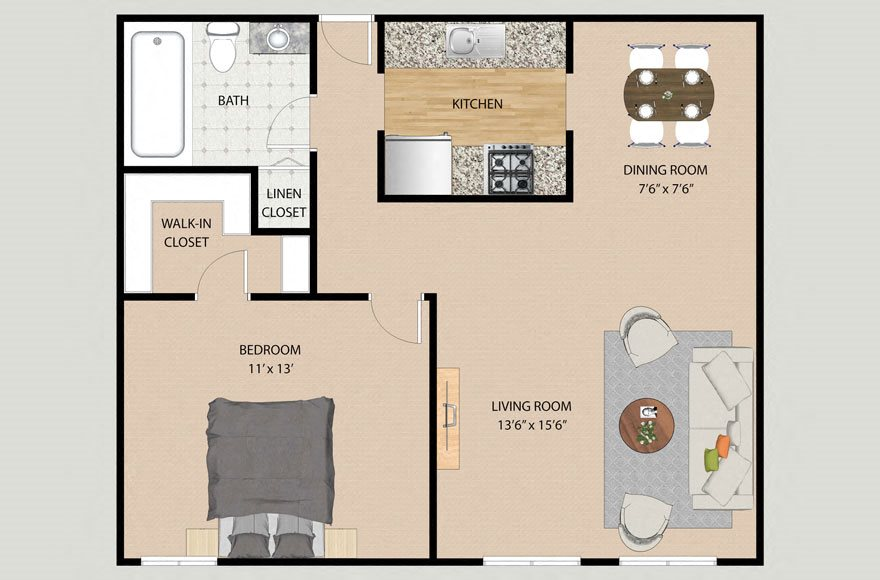 One Bedroom One Bathroom Plan 1B Floor Plan at Park Village
