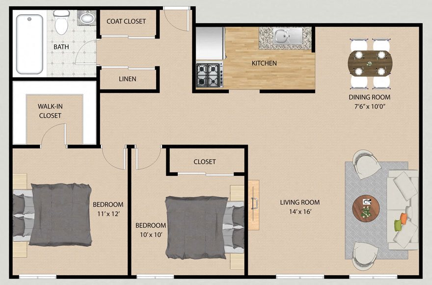 Two Bedroom One Bathroom Plan A Floor Plan at Park Village