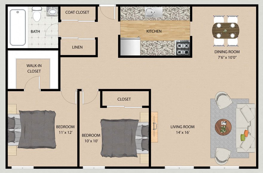 Two Bedroom One Bathroom Plan B Floor Plan at Park Village