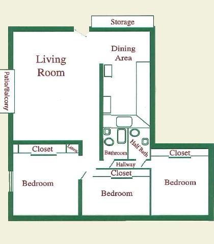 3 Bed 1.5 Bath at Pheasant Run Apartments, Joliet, Illinois
