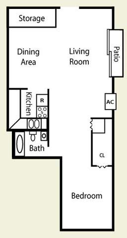 One Bed One Bath Floor Plan at Pheasant Run Apartments, Joliet, IL, 60433