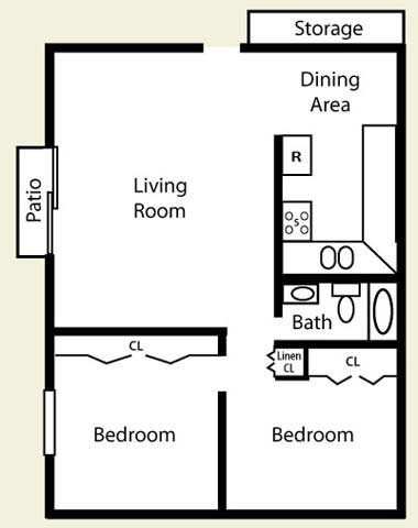 Two Bed Two Bath Floor Plan at Pheasant Run Apartments, Joliet, IL