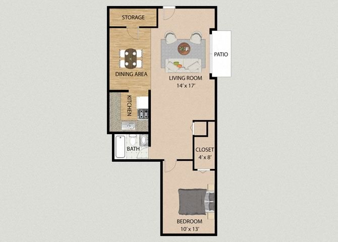 One Bedroom One Bathroom Floor Plan at Pheasant Run