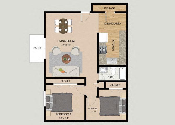 Two Bedroom One Bathroom Floor Plan at Pheasant Run