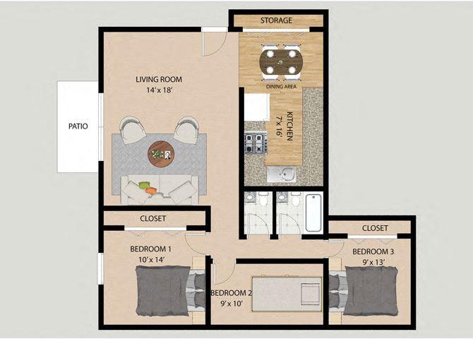 3 Bedroom 1.5 Bathroom Floor Plan at Pheasant Run